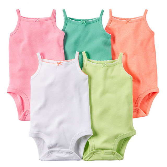 5 Pieces/Lot Baby Bodysuits Sling Sleeveless Cotton Baby Jumpsuit Solid Baby Clothes Dot Print Girls Bodysuits 2016 Summer V49