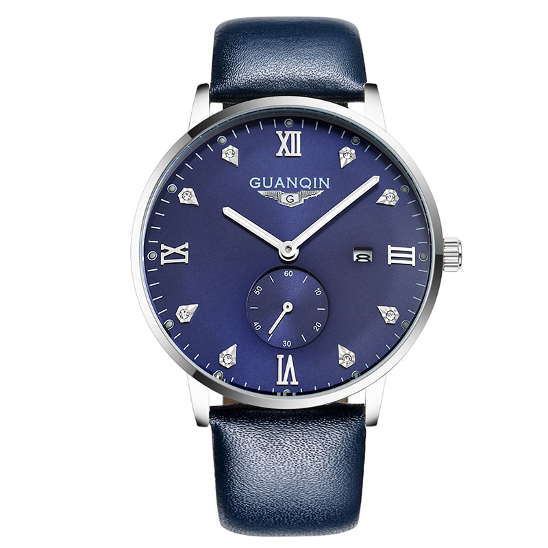 GUANQIN GQ13001 Bauhaus montre homme Leather Quartz Watch Mens Luxury Top Brand Waterproof Wristwatch relogio masculino montre homme guanqin watches men sport casual leather quartz watch mens luxury top brand waterproof wristwatch relogio masculino