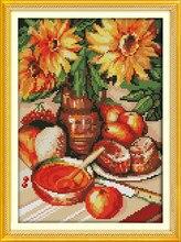 Kits en toile de coton fleur Tournesol | Broderie imprimée précise 100%, aiguille faite à la main, décoration murale de maison