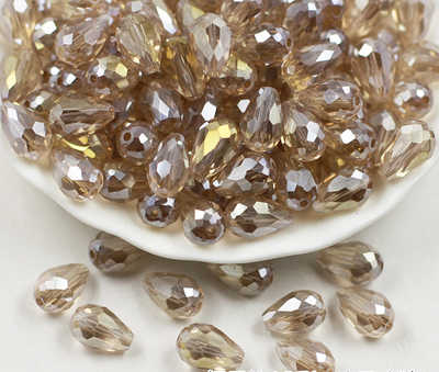 10*15 Mm Bijoux Manik-manik Kristal Teardrop Bentuk Segi Liontin Menjahit Perhiasan Anting-Anting Kalung Gelang Jahit Aksesoris DIY