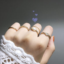 Trend Inlay Imitation Pearl Heart Ring Water Zircon Combination Joint Ring Gold Five Pieces Of Women's Versatile Jewelry(China)
