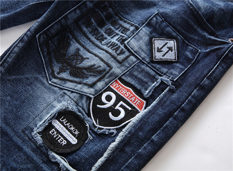 Fashion Summer Denim Shorts Mens Hip Hop Badge Design Jeans Shorts Patchwork Calca Jeans Masculina Brand Embroidery Jeans