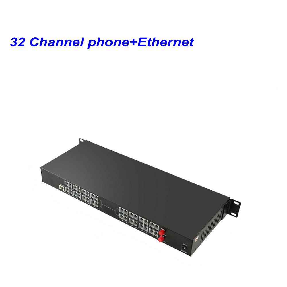 1 Pair 32 Channel-PCM Voice Tel Over Fiber Optic Multiplexer Extender With 100M Ethernet,Support Caller ID And Fax Function