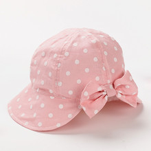 Beautiful and Comfortable Pure Cotton Girl Sun Caps Children Lovely Bow Bucket Hats Pink Blue 3-5Y 5-8Y