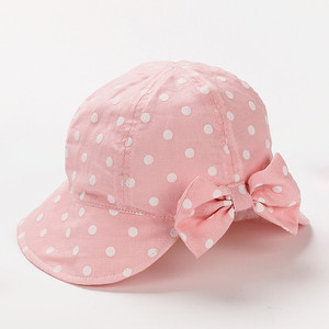 Beautiful and Comfortable Pure Cotton Girl Sun Caps Children Lovely Bow Bucket Hats Pink Blue 3-5Y and 5-8Y
