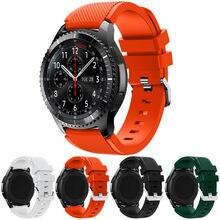 e2971d5a8d422 Venta caliente Correas de reloj negro 22mm marca de lujo nueva moda  deportes silicona pulsera correa para Samsung Gear S3 FRONTI.