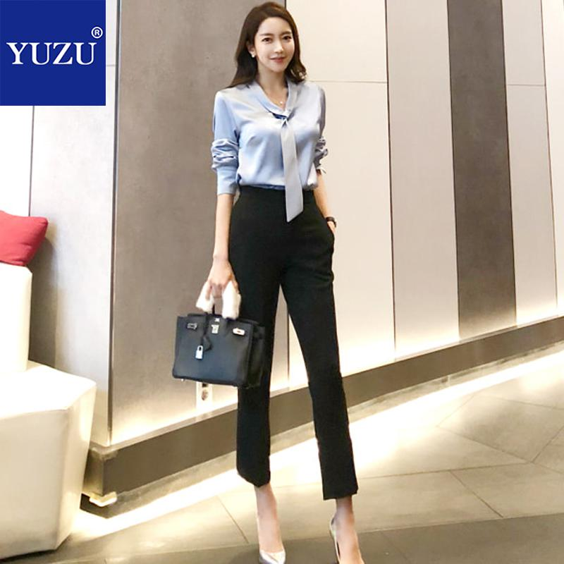 f7d42b812be9 Two Piece Set Top And Pants Office Style Fall Fashion Blue White Long  Sleeve Bow Lacing