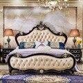 Antiken Europäischen stil Leder Bett  Neue Amerikanischen Massivholz Doppelbett  Neue Klassische Schlafzimmer Und Hochzeit Bett-in Schlafzimmer-Sets aus Möbel bei