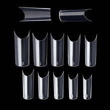 Faux ongles transparents pour les ongles à la française du sud, pointes en acrylique pour Salon de manucure, construction, 100 pièces/ensemble