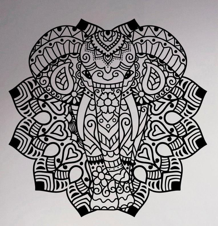 Aliexpress Buy Indian Elephant Mandala Vinyl Decal Wall Sticker Asian Home Interior Ethnic
