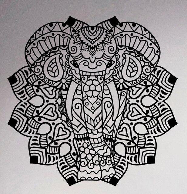 Com Buy Indian Elephant Mandala Vinyl Decal Wall Sticker Asian Home