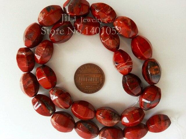 Lii Ji Natural Red Jasper Oval Shape Facetd Loose Beads DIY Jewelry Making Neckl