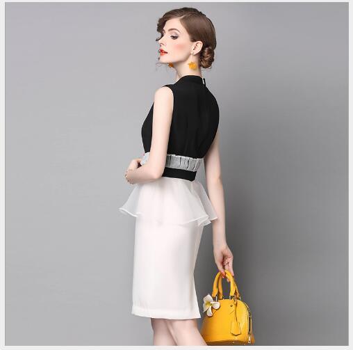De Femmes Black Col Outwear Robe Haute Summer Qualité Lady Droite 2018 Montant New Fit Office Manches Solides Mode Slim SPgqSCw