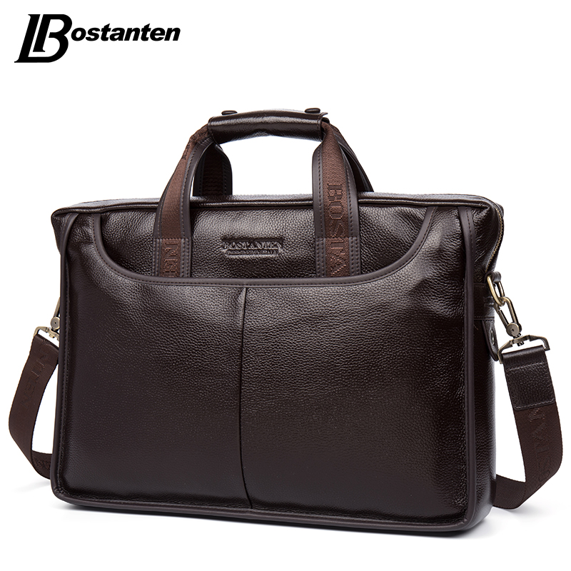 Image 3 - Bostanten 2019 New Fashion Genuine Leather Men Bag Famous Brand Shoulder Bag Messenger Bags Causal Handbag Laptop Briefcase Male-in Briefcases from Luggage & Bags