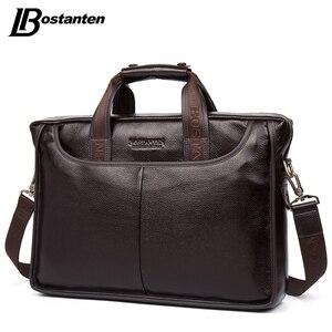 Image 3 - Bostanten 2019 nouvelle mode en cuir véritable hommes sac célèbre marque sac à bandoulière Messenger sacs casual sac à main sacoche pour ordinateur portable homme