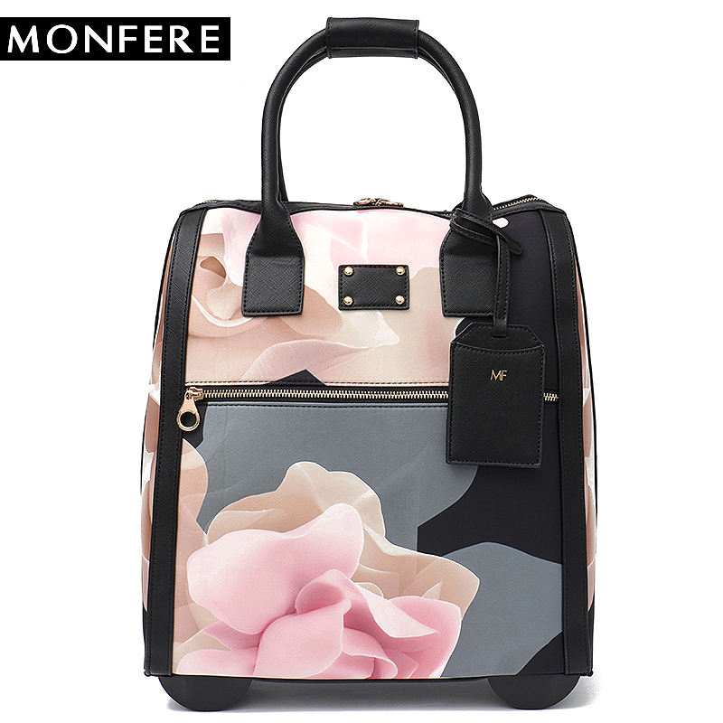 цены MONFERE Luggage Metal Trolley Travel Bags Flower Suitcase on Wheels Valise Bagages Roulettes Hand Trolley Board Chassis Package