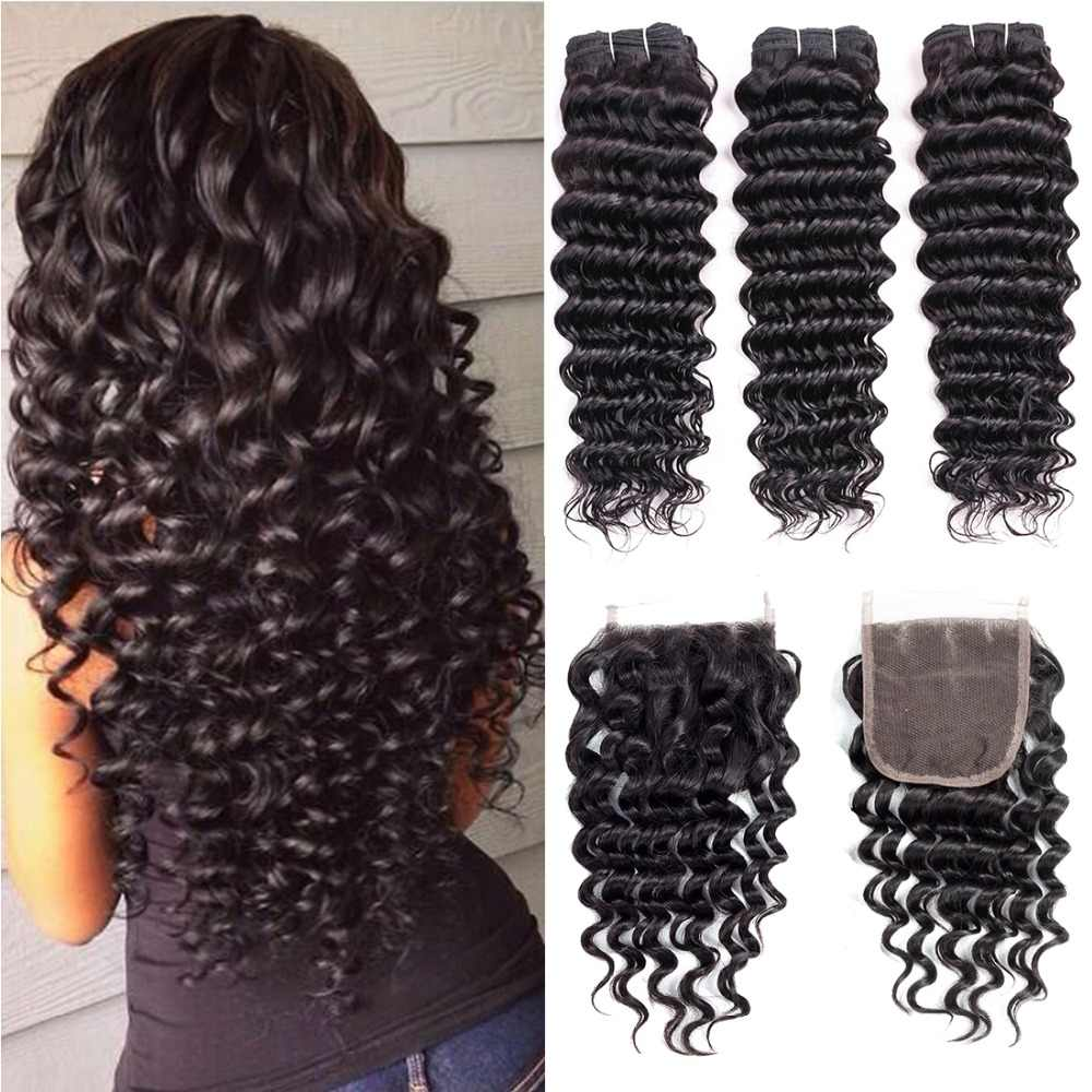 Indian Hair Deep Wave Bundles With Closure 100% Human Hair Weave Bundles With Closure Deep Curly 3/4 Bundles With Lace Closure