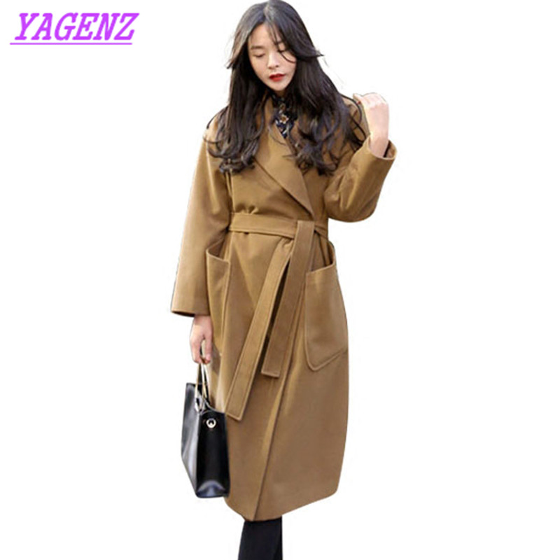 2018 High quality Women Long Woolen Jacket Winter Warm Women Students Wool coat Fashion Navy blue Loose Exquisite overcoat B187