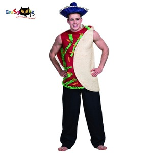 Eraspooky Men's Hamburger Sandwich Tunic Mexican Food Taco Cosplay Halloween Costume Adult Carnival Party Outfits Clothing(China)