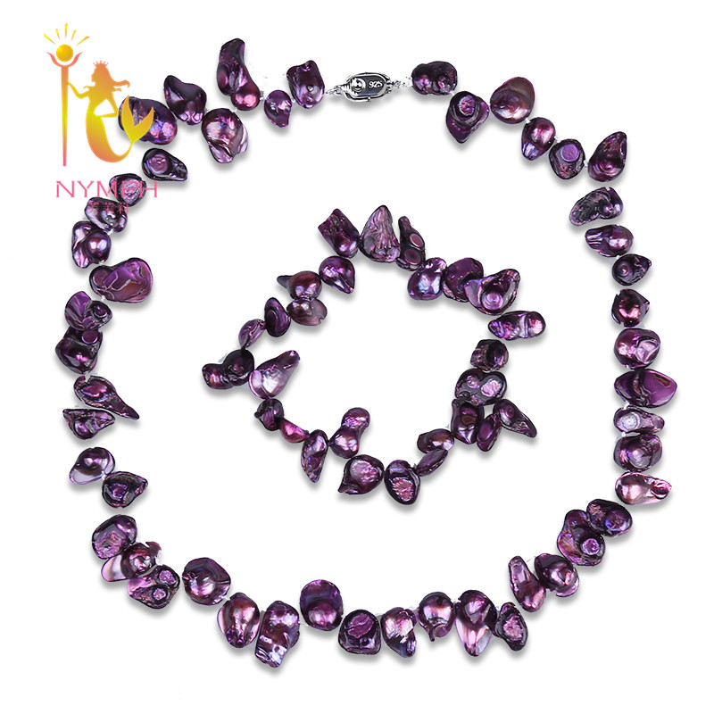[NYMPH ] purple natural Baroque pearl jewelry sets 9-13mm Freshwater pearl trendy choker necklace & bracelet for women [T215]