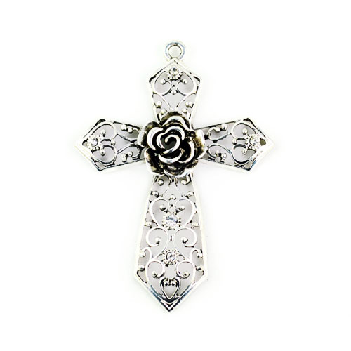 Fashion antique silver color hollow out rose cross pendant for diy fashion antique silver color hollow out rose cross pendant for diy jewelry accessories traditional cross necklace pendants p334 in pendants from jewelry aloadofball Image collections