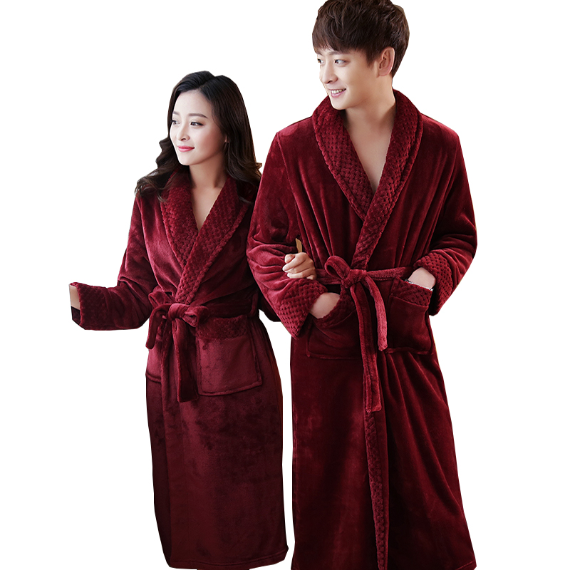 On Sale Men's Extra Long Soft As Silk Flannel Bathrobe Men Winter Warm Bath Robe Mens Dressing Gown Bathrobes Male Kimono Robes