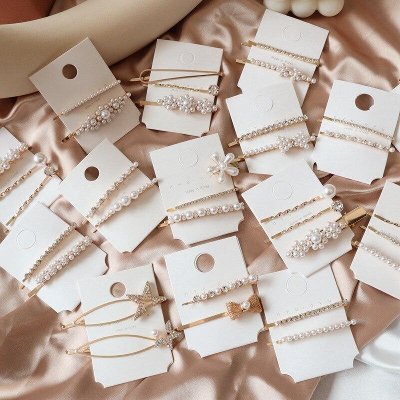 Fashion 1SET Chic Imitation Pearl Bowknot Flower Hair Clips Crystal Rhinestones Star Hairpins For Women Korea Hair Accessories