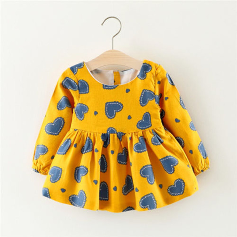 2017 New Brand Toddler Infant Newborn Baby Girls Dress Long Sleeve Princess Party Pageant Dresses Kid Heart Printed Clothes 0-3T