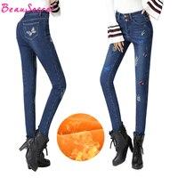 Panno Morbido di inverno Caldo Jeans Donna Farfalla Ricamato A Vita Alta Skinny Denim Jeans Donna Pantaloni Della Matita di Stirata