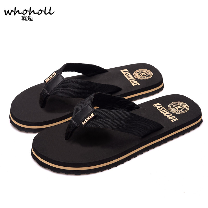 WHOHOLL New Summer Men Flip Flops High Quality Beach Sandals Non slide Male Slippers Zapatos Hombre Casual Shoes in Slippers from Shoes