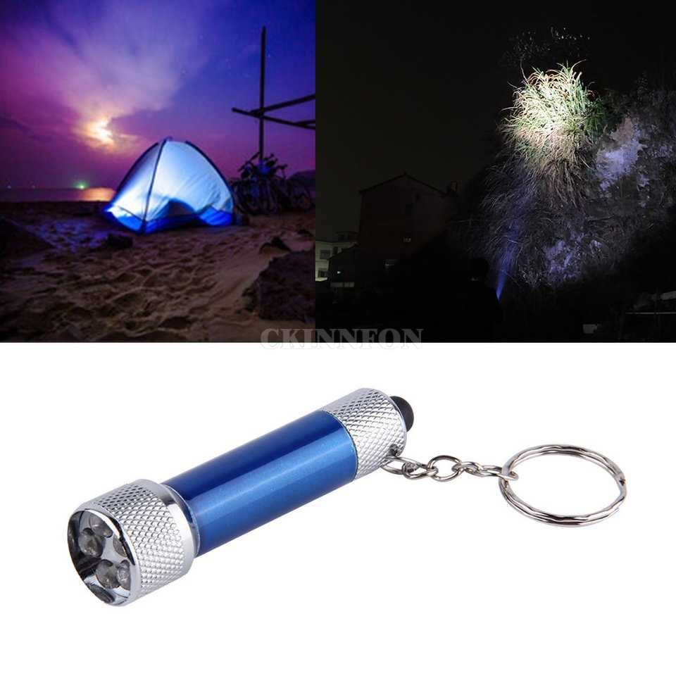 DHL 200 piezas portátil 5 LED Mini linterna antorcha de luz de aluminio llavero cadena B3 (Color: azul)