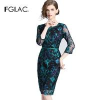FGLAC Women dress Autumn Three Quarter Vintage vestidos Elegant Slim Hollow out Sheath Party dress Knee Length sexy dress