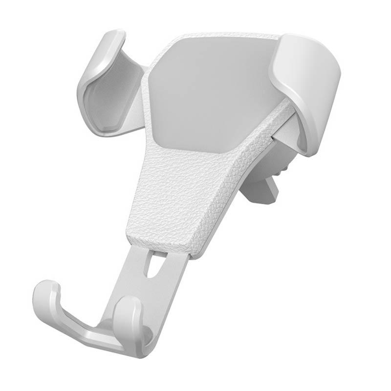 Гравитационный алюминиевый сплав держатель для телефона держатель на вентиляционное отверстие автомобиля Стенд без магнита Универсальный держатель для мобильного телефона смартфона - Название цвета: Белый