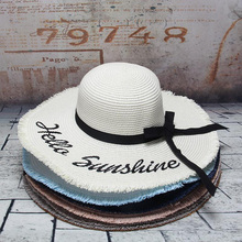 1719ac465b3 2019 New Weave Letter Straw Hat For Women Black Ribbon Large Brim Sun Hats  Vacation Outdoor