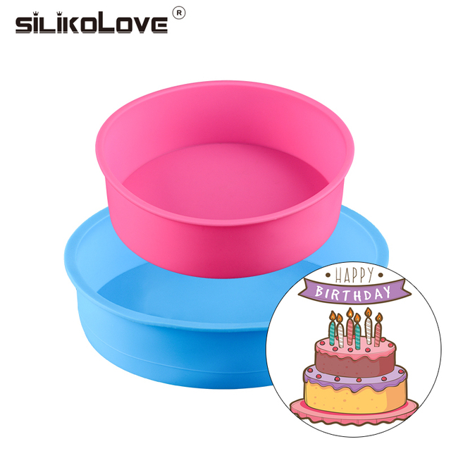 Bakeware Set for Birthday Party Cake Maker Silicone Molds Baking Pan Round 2pcs DIY Birthday Cake Mousse Two Layers Cake Pan