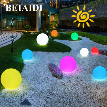 BEIAIDI Outdoor Solar Powered Ball Garden Light With Remote 7 Color Dimmable Post LED Lawn Lamp Solar Villa Landscape Patio Lamp