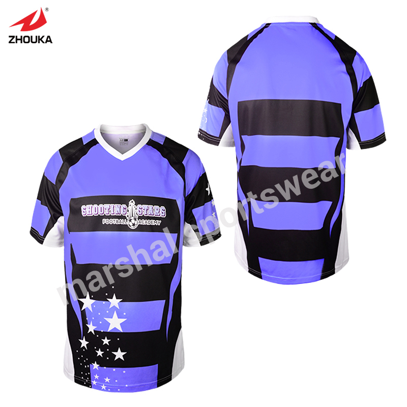 top quality OEM any color name number stripes design purple custom soccer jersey top quality full sublimation print