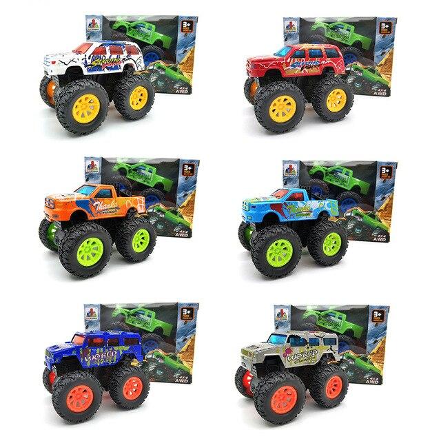1:: 32 4 Tipos Graffiti SUV Cool Car Brinquedo Carro liga Pull Back Veículo Diecast Modelo Meltal Chama Monstro brinquedos para crianças Moto