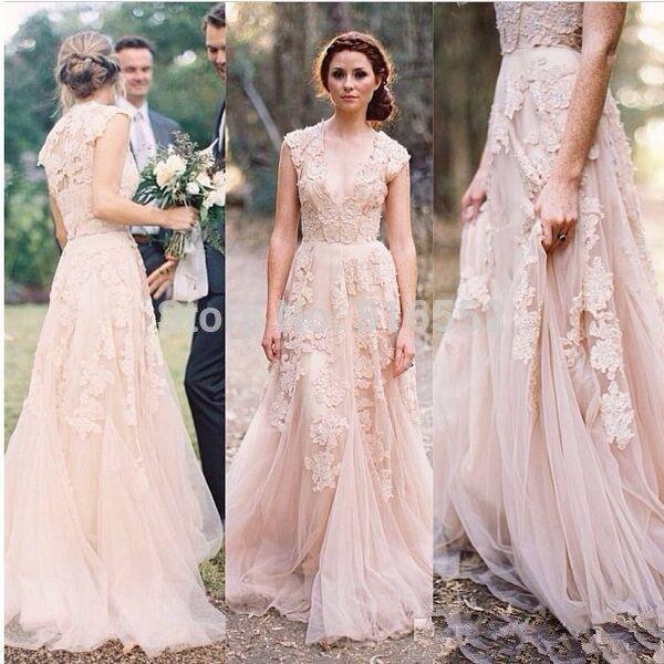 pink peach lace country wedding dress 2016 vestido de elegant sexy v neck vintage bridal gowns