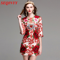 Chinese Style Sheath Dress 2017 Summer New Rose Appliques Embroidery Crystal Beading 3 4 Sleeve Women