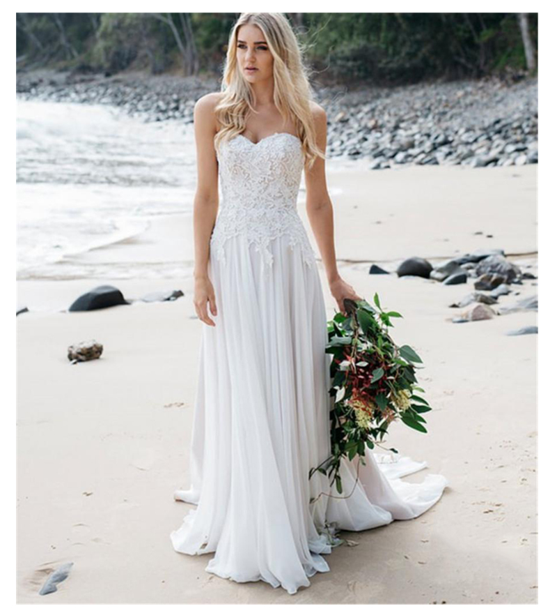 LORIE Boho Informal Wedding Dresses 2019 Robe de mariee Vintage Lace Top New Bridal Dress Chiffon