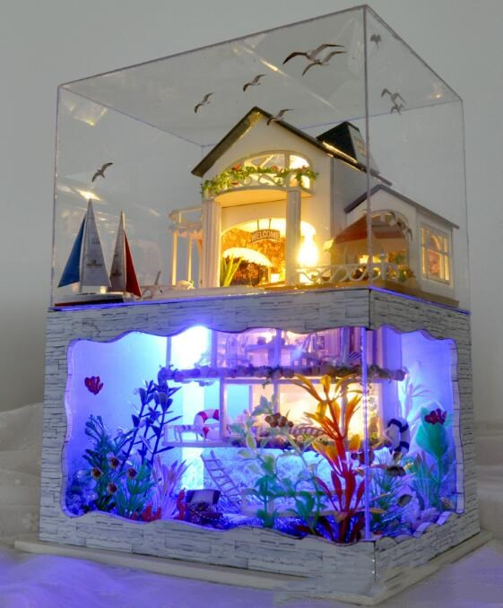 Diy Handmade Wooden Pretty Hawaii Model Doll House with dust cover font b Beautiful b font