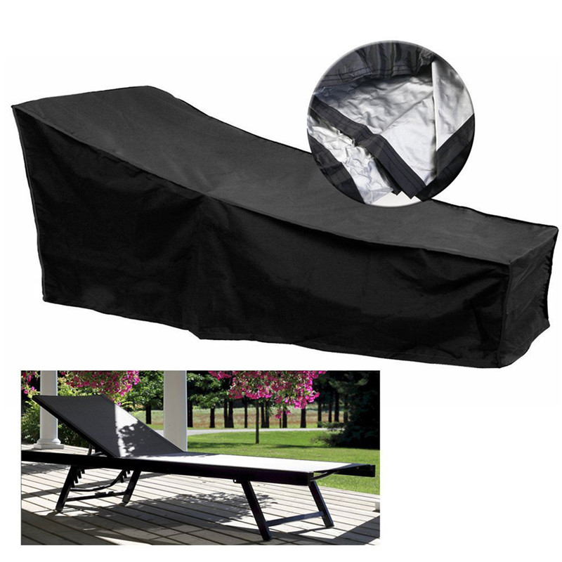 Image 5 - Black Polyester Lounge Chair Dust Cover Waterproof Outdoor Garden Patio Home Furniture Beach Chairs Protection Bag AC028-in All-Purpose Covers from Home & Garden