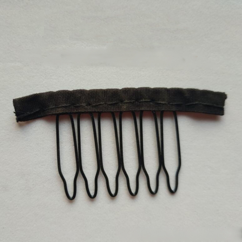 Black Cloth Wig Combs 6 Teeth Hair Wig Clips For Full Lace Wig Cap Wig Accessories 20-40 Pcs/lot Special Buy Hair Extensions & Wigs