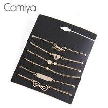 Comiya Heart Love Bowknot 6 Bracelets One Set For Women Men Pendant Chains Bracelet Brazaletes Pulseras Mujer Alloy Bijoux