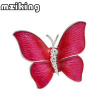 mziking New Crystal Butterfly Brooch Pin for Women Rhinestone Broches Animal Broche Jewelry Clothes Accessories Party Gift Brosh(China)