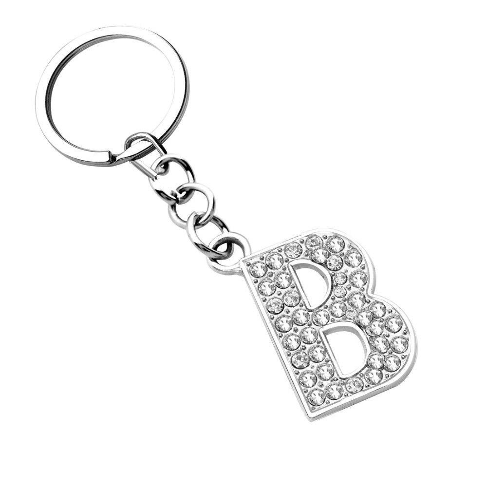ZOSHI Silver Letter Pendant keychains key rings fashion Crystal key chains car key holder women bag charms key rings костюм key fashion
