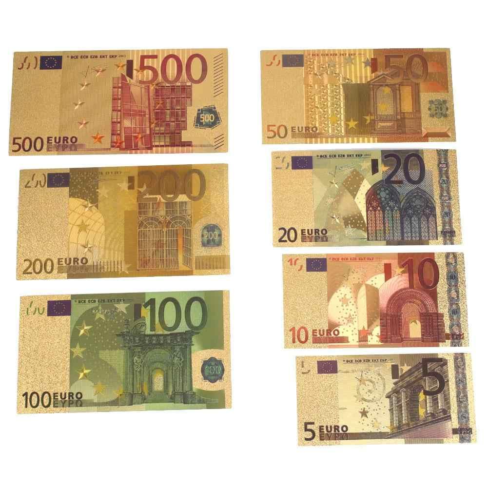 7 pcs 24 K Oro Placcato Euro di Denaro Falso Commemorativa note Collezione di Souvenir di Alta Qualità Antico Placcato Decorazione 5-500Dollar