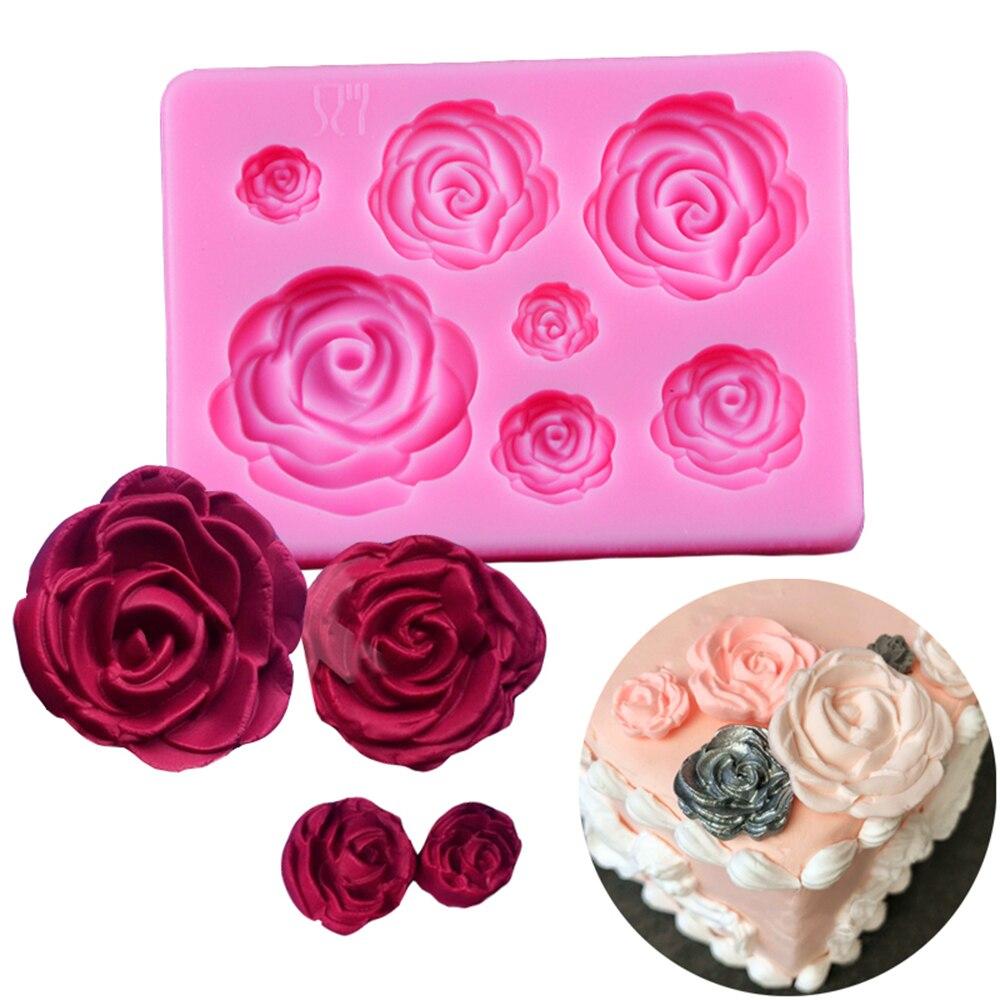 1Pcs Rose Flowers Silicone Mold Sugarcraft Chocolate Fondant Cake Decorating Baking Tools Mould