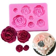 1Pcs Rose Flowers Silicone Mold Sugarcraft Chocolate Fondant Cake Decorating Baking Tools Fondant Mould цена и фото